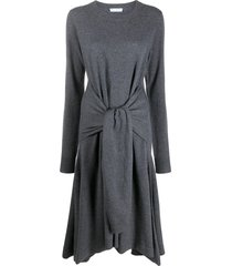 jw anderson tie front merino knitted dress - grey