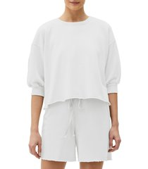 women's michael stars julia puff sleeve pullover, size large - white