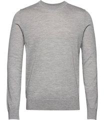 flemming crew neck 3111 stickad tröja m. rund krage grå samsøe samsøe