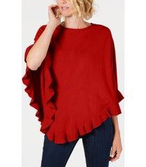 karen scott petite luxsoft ruffled poncho sweater, created for macy's