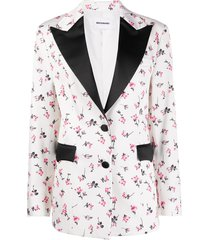 brognano floral-print wide-lapel blazer - white