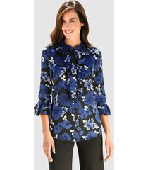 blouse klingel zwart::royal blue