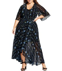 plus size women's city chic floral print wrap maxi dress
