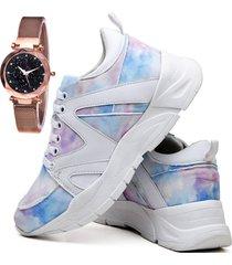 tênis sapatênis plataforma asgard com relógio gold feminino db 736lbm colorido