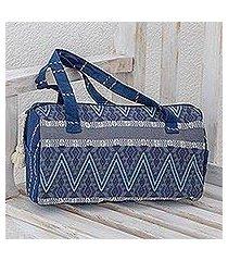 cotton travel bag, 'indigo lakes' (guatemala)