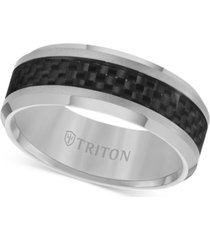 triton men's tungsten carbide ring, black carbon fiber stripe wedding band