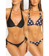 2 pack moulded push up plunge bikini, black