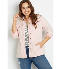 maurices plus size womens pink belted denim trench coat