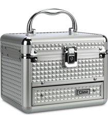 maleta de maquiagem cisne em alumínio 2 bandejas prata