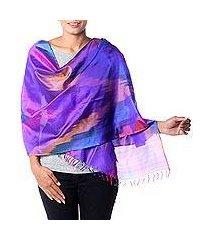 varanasi silk shawl, 'festive color fusion' (india)