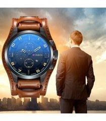 reloj analogo hombre moderno curren fechador cuero