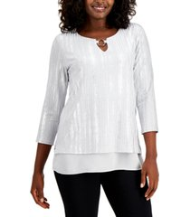 jm collection metallic o-ring keyhole top, created for macy's