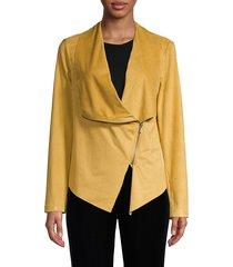 vigoss women's faux suede jacket - mustard - size xs