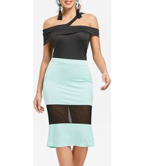 off the shoulder mesh panel bodycon dress