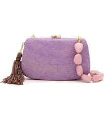 serpui straw clutch - purple