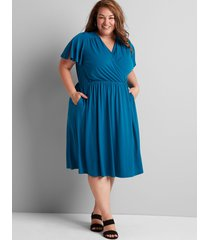 lane bryant women's knit kit crossover fit & flare dress 10/12 deep ocean