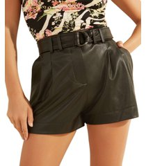 guess ava belted faux-leather shorts