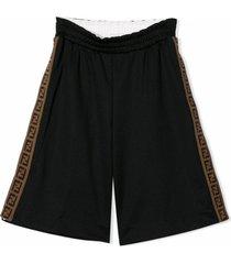 fendi black ff trim shorts