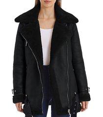 faux fur-trim biker jacket