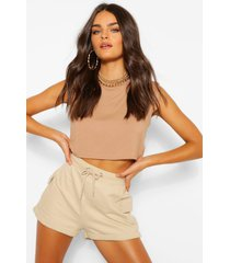 shoulder pad crop t-shirt, camel