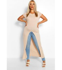plus cap sleeve maxi split front top, stone