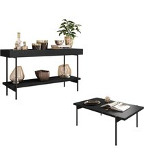 aparador bandeja espelhada 1 prateleira 1 portae mesa de centro estilo industrial mezzan h01 preto - mpozenato - unico - dafiti