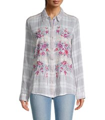 johnny was women's caelynn floral embroidery check shirt - plaid - size m