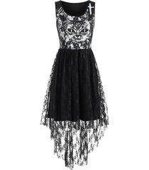 cat print lace insert high low dress