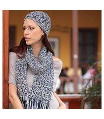 100% alpaca scarf and hat set, 'sky blue fans' (peru)
