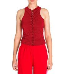 unravel project women's lace-up racerback bodysuit - red - size m