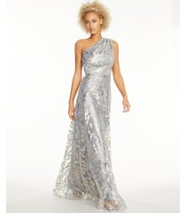 adrianna papell metallic lace one-shoulder gown