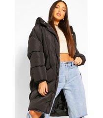 tall lange gewatteerde jas met capuchon en stiksels, black