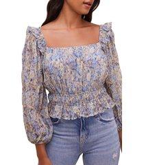 astr the label elva floral square neck blouse, size large in blue taupe floral at nordstrom