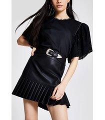 river island womens black faux leather pleated peplum mini skirt