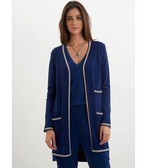 casaco le lis blanc vivian médio ii tricot azul marinho feminino (marine, gg)