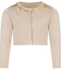 billieblush gold cardigan with sequins for girl