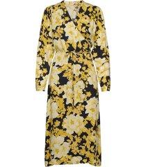 rosanna midi dress printed knälång klänning gul soft rebels