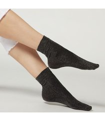 calzedonia women's glitter opaque socks woman black size tu