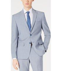 dkny men's modern-fit light blue sharkskin suit jacket
