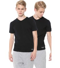 kit 2pçs camiseta calvin klein underwear gola v preta