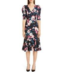 women's erdem floral print ruffle hem jersey dress