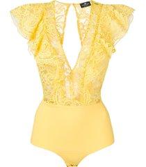 elisabetta franchi lace frill-trim bodysuit - yellow