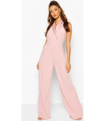 occasion tailored tux jumpsuit, blush