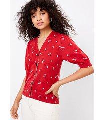 loft petite cherry puff sleeve v-neck cardigan
