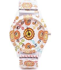 reloj para mujer flores tipo soles color naranja, talla uni