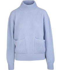 fedeli woman turtleneck sweater in light blue ribbed cashmere with pockets