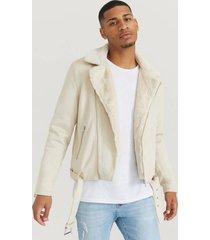 jacka fake suede biker jacket fur