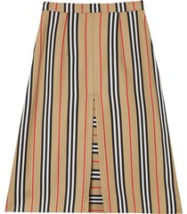 box pleat detail icon stripe a-line skirt