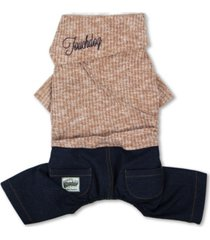 touchdog vogue neck-wrap sweater and denim pant outfit x-small