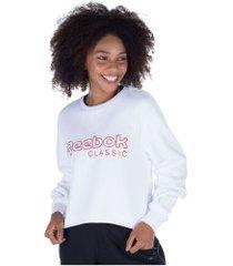 blusão de moletom reebok cl fl crew - feminino - branco